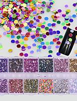 12 couleurs / boîte nail art coloré mini rond diy glisten décoration brillant paillette 3d paillettes paillettes manucure accessoire
