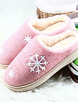 Women's Shoes PU Winter Fluff Lining Comfort Slippers & Flip-Flops Round Toe Flower For Casual Blushing Pink Green Orange