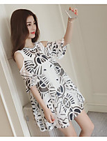 Women's Casual/Daily Simple Summer Blouse Skirt Suits,Pattern Round Neck Short Sleeve