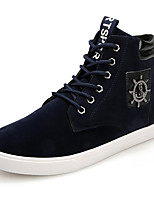 Men's Shoes Real Leather Fall Winter Light Soles Sneakers For Casual Dark Blue Black