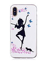 abordables -Coque Pour Apple iPhone X / iPhone 8 Plus Phosphorescent / IMD / Motif Coque Femme Sexy Flexible TPU pour iPhone X / iPhone 8 Plus / iPhone 8