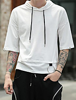 Men's Sports Holiday Hoodie Solid Hooded Micro-elastic Polyester ¾ Sleeve Spring Fall