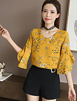 Women's Going out Simple Cute Blouse,Floral V Neck 3/4 Length Sleeves Cotton