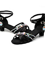 Women's Latin Silk Heel Indoor Buckle High Heel Black Customizable