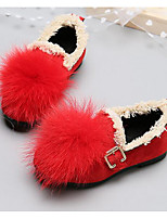 Girls' Shoes Flocking PU Fall Winter Comfort Loafers & Slip-Ons For Casual Red Yellow Black