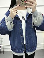 Veste en jean Femme,Couleur Pleine Décontracté / Quotidien simple Rétro Automne Hiver Capuche Normal Coton Autres