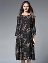 JIANRUYI Women's Holiday Casual/Daily Boho Loose DressFloral Round Neck Midi Long Sleeves Cotton Fall Winter High Waist Inelastic Medium
