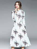MAXLINDY Women's Party Going out Casual/Daily Sexy Vintage Sophisticated A Line Dress,Print Stand Midi Long Sleeves Polyester Fall Winter Mid Rise
