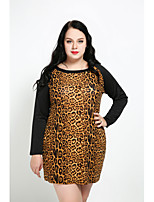 Cute Ann Women's Plus Size Casual/Daily Sexy Vintage Cute Shift Dress,Leopard Round Neck Above Knee Long Sleeves Cotton Polyester Spandex All
