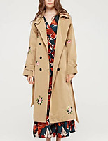 Women's Going out Casual/Daily Street chic Fall Winter Trench Coat,Print Shirt Collar Long Sleeve Long Cotton