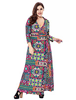 Women's Party Plus Size Going out Casual/Daily Vintage Boho Sophisticated Loose Sheath Swing Dress,Floral Geometric Paisley V Neck Maxi