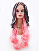 Women Synthetic Wig Capless Long Body Wave Pink Ombre Hair Halloween Wig Costume Wig
