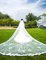 Two-tier Wedding Veil Cathedral Veils With Applique Scattered Bead Floral Motif Style Lace Tulle