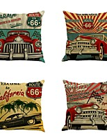 Set Of 4 Classic United States Route 66 Pillow Case Square Vintage Pillow Cover 45*45Cm