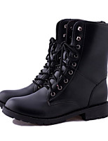 Women's Shoes PU Fall Winter Fashion Boots Combat Boots Boots Chunky Heel Square Toe Booties/Ankle Boots For Casual Black