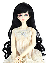 Women Synthetic Wig Capless Long Curly Dark Black Doll Wig Costume Wig