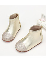 Girls' Shoes Real Leather Fall Winter Comfort Fashion Boots Boots For Casual Silver Black Gold