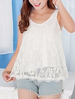 Women's Casual/Daily Simple Blouse,Solid V Neck Sleeveless Cotton