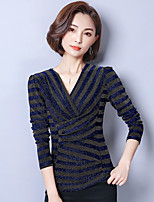 Women's Daily Going out Casual Sophisticated T-shirt,Solid V Neck Long Sleeves Spandex Thin