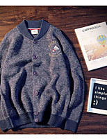 Men's Casual/Daily Regular Cardigan,Solid V Neck Long Sleeves Cotton Fall Medium Micro-elastic