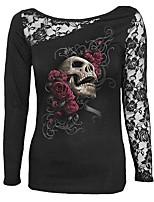 T-shirt Da donna Casual Moda città Con stampe Rotonda Cotone Manica lunga