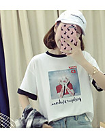 Women's Daily Cute Spring Summer T-shirt,Print Round Neck Short Sleeves Cotton Thin