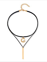 Women's Choker Necklaces Layered Necklaces Leather Gold Plated Fashion Jewelry For Casual Office & Career