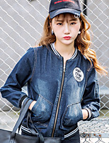 Women's Going out Simple Fall Denim Jacket,Solid Round Neck Long Sleeve Regular Cotton