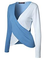 Для женщин На выход Осень Футболка V-образный вырез Контрастных цветов Длинный рукав,Хлопок,Средняя