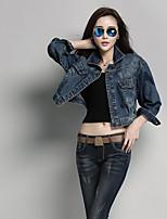 Women's Daily Simple Casual Fall Denim Jacket,Solid Shirt Collar Regular Cotton