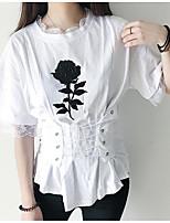 Feminino Camiseta Casual Simples Floral Algodão Decote Redondo Meia Manga