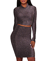 Women's Going out Club Sexy Street chic Spring Fall T-shirt Skirt Suits,Solid Simple Crew Neck Long Sleeve Polyester Micro-elastic
