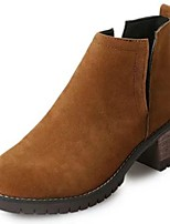 Women's Shoes Nubuck leather PU Fall Comfort Fashion Boots Boots Chunky Heel Round Toe For Casual Brown Black