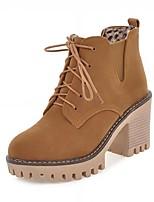 Mujer Zapatos Semicuero Primavera Invierno Botas de Moda Botas Tacón Robusto Dedo redondo Botines/Hasta el Tobillo Con Cordón Para Casual