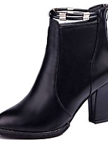 Women's Shoes PU Fall Comfort Fashion Boots Boots Chunky Heel Round Toe Mid-Calf Boots For Casual Wine Black
