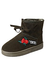 Femme Chaussures Polyuréthane Hiver Bottes de neige Bottes Talon Plat Bout rond Fleur Pour Décontracté Noir Gris Vert Véronèse