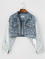 Women's Casual/Daily Simple Fall Winter Denim Jacket,Solid Shirt Collar Long Sleeve Short Cotton Sequins