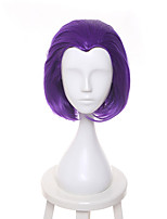 Femme Perruque Synthétique Sans bonnet Court Raide Bright Purple Ligne de Cheveux Naturelle Perruque de Cosplay Perruque Naturelle