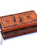 Men Bags All Seasons PU Wallet Pattern / Print for Casual White Brown Dark Brown