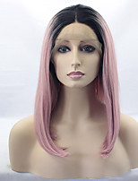 billiga -Syntetiska peruker Rak Rosa Bob-frisyr Syntetiskt hår Ombre-hår / Mörka hårrötter / Mittbena Rosa Peruk Dam Mellan Spetsfront Svart / Rosa