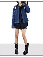 Giacca di jeans Da donna Casual Semplice Autunno,Tinta unita Colletto Altro Standard Manica lunga