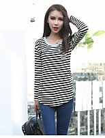 Women's Going out Casual T-shirt,Striped Round Neck Long Sleeves Cotton