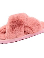 Women's Shoes PU Fall Winter Light Soles Slippers & Flip-Flops Flat Heel Open Toe Feather For Casual Blushing Pink Gray Black