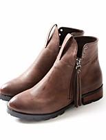 Femme Chaussures Polyuréthane Automne Hiver boîtes de Combat Bottes Talon Bas Bout rond Bottine/Demi Botte Pour Décontracté Noir Marron