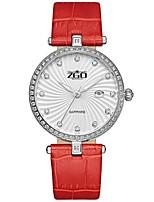 Women's Fashion Watch Quartz Genuine Leather Band Black White Red