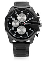 JUBAOLI Men's Sport Watch Fashion Watch Wrist watch Chinese Quartz Calendar Stopwatch Large Dial Stainless Steel Band Cool Casual Black