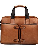 Men Bags All Seasons Cowhide Briefcase Zipper for Casual Office & Career Brown