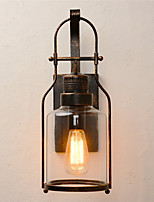 Retro Industrial Loft Lantern 1-Light Wall Sconce with Clear Glass