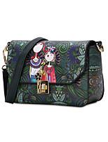 Women Bags All Seasons PU Shoulder Bag Pattern / Print for Shopping Casual Dark Green