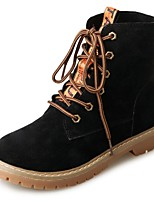 Women's Shoes Suede Spring Fall Combat Boots Boots Flat Heel Round Toe Lace-up For Casual Black Brown Khaki